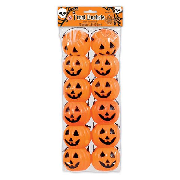 Cestas mini calabazas Halloween, Pack 12 u.