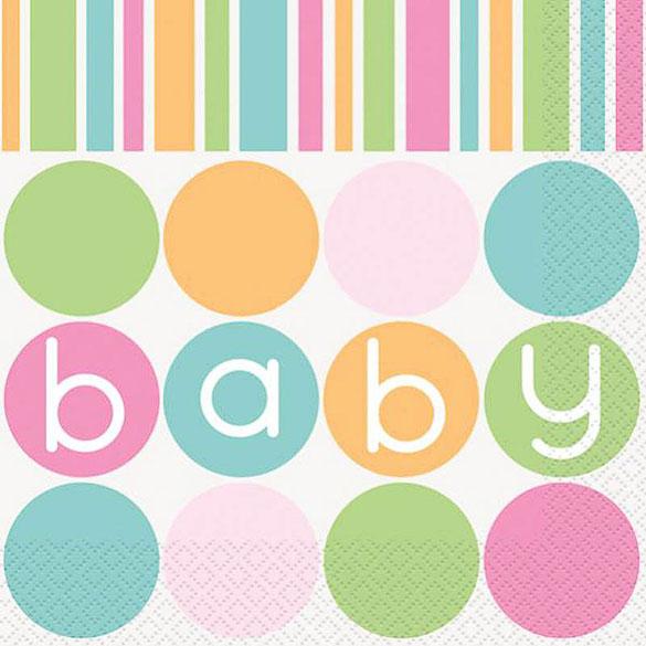 Servilletas Baby Shower 33 x 33 cm, Pack 16 u.
