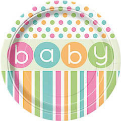 Platos Baby Shower 22,90 cm, Pack 8 u.