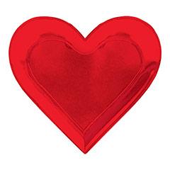Platos forma de corazón rojo metalizado 27,00 cm, Pack 8 u.