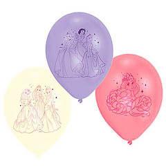 Globos de Látex Princesas Disney colores surtidos. Pack de 6 unidades
