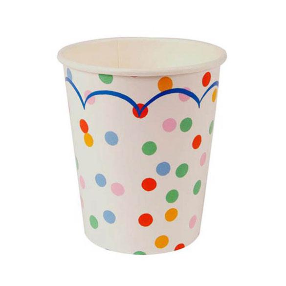 Vasos Blancos con Lunares cartón encerado 266 ml, Pack 12 u.