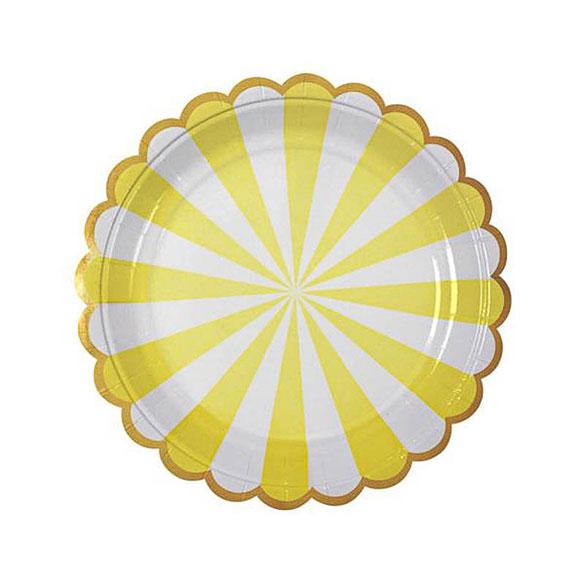 Platos rayas amarills y blancas 18 cm, Pack 8 u.