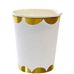 Vasos Blanco Marfil borde dorado 266 ml, Pack 8 u.