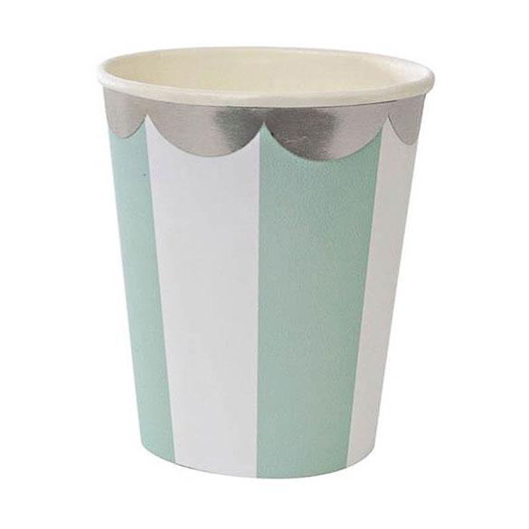 Vasos rayas verdes y blancas borde dorado 266 ml, Pack 8 u.