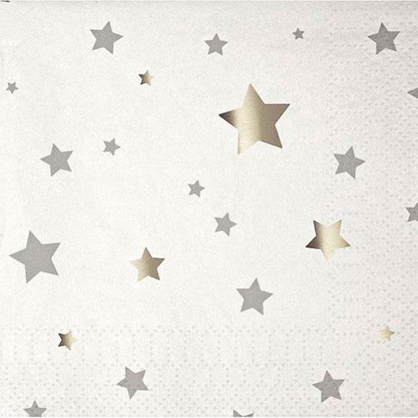 Servilletas estrellas Plateadas 12,5 x 12, 50 cm, Pack 16 u.