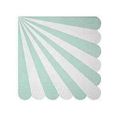 Servilletas rayas verdes y blancas 12,5 x 12,5 cm, Pack 20 u.