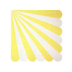 Servilletas rayas amarillas y blancas 12,5 x 12,5 cm, Pack 20 u.