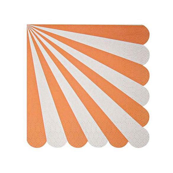 Servilletas rayas naranja y blancas 12,5 x 12,5 cm, Pack 20 u.