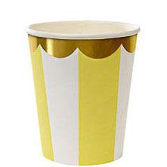 Vasos rayas amarillas y blancas borde dorado 266 ml, Pack 8 u.