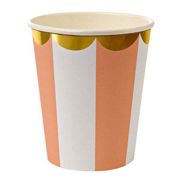 Vasos rayas naranjas y blancas borde dorado 266 ml, Pack 8 u.