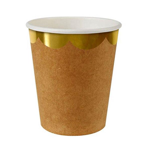 Vasos color Craft borde dorado 266 ml, Pack 8 u.