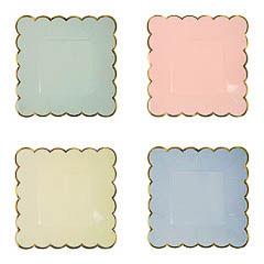 Platos colores con borde dorado 18,00 cm, Pack 8 u.