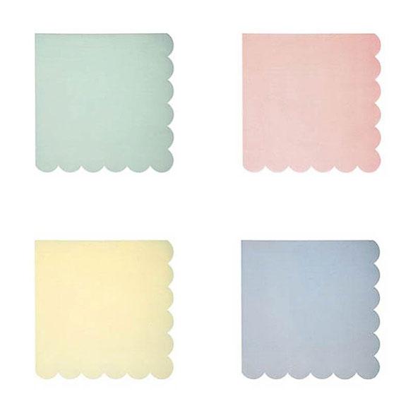 Servilletas Colores Pastel 12,5 x 12,5 cm, Pack 20 u.
