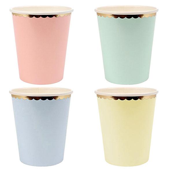 Vasos tonos pastel borde dorado 266 ml, Pack 8 u.
