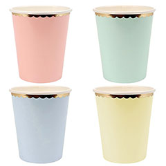 Vasos tonos pastel borde dorado 266 ml, Pack 8 u.