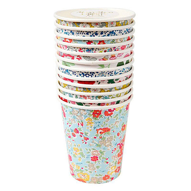 Vasos Liberty flores, 266 ml, Pack 12 u