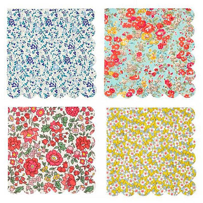 Servilletas Liberty flores 33 x 33, Pack 20 u.