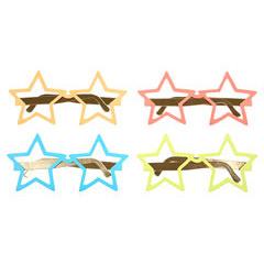 Gafas de cartón reversibles forma estrella, Pack 12 u