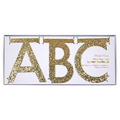 Guirnalda letras oro con purpurina para personalizar, Pack 134 letras