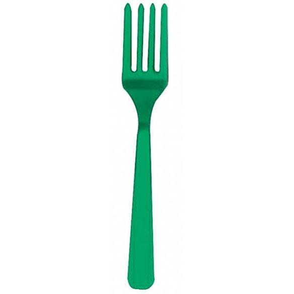 Tenedores de plástico Verde, Pack 10 u.