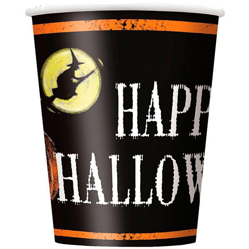 Vasos Happy Halloween 266 ml, Pack 8 u.