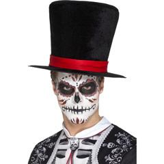 Sombrero de copa negro con cinta roja