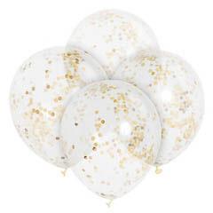 Globos de Látex transparentes con confeti oro. Pack 6 unidades