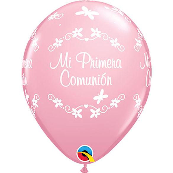 Globos Primera Comunión rosa, Pack 10 u