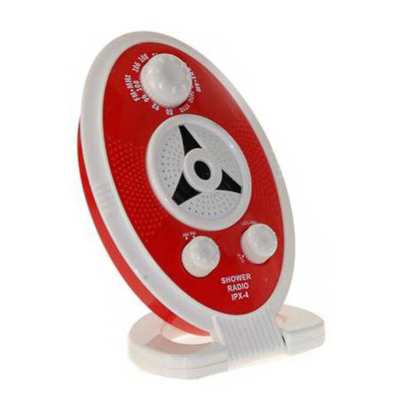 Radio para la ducha roja y blanca con base o para colgar