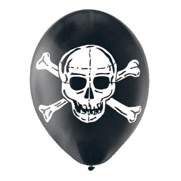 Globos de Látex Negros Calavera Pirata. Pack 6 unidades