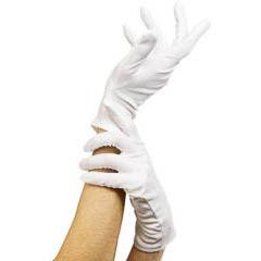 Guantes blancos de tela cortos adulto