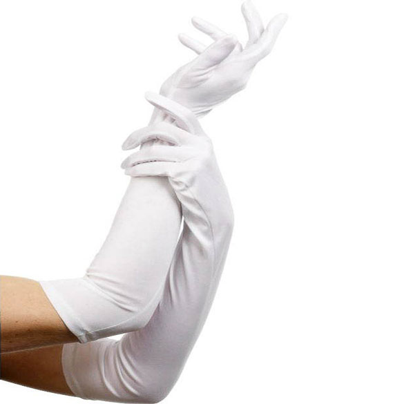 Guantes blancos de tela largos adulto