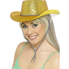 Sombrero vaquero plástico purpurina oro