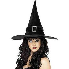 Sombrero de bruja con hebilla brillante