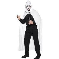 Capa blanca con capucha blanca adulto