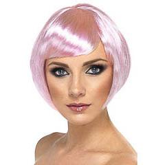 Peluca corta años 60 rosa