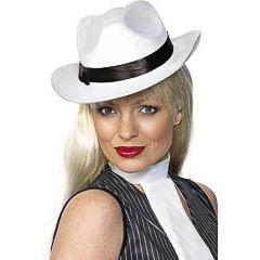 Sombrero gánster blanco de fieltro