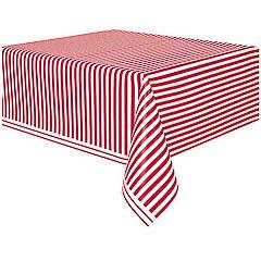 Mantel rayas blanco y rojo 274 x 137 cm plástico, Pack 1 u.