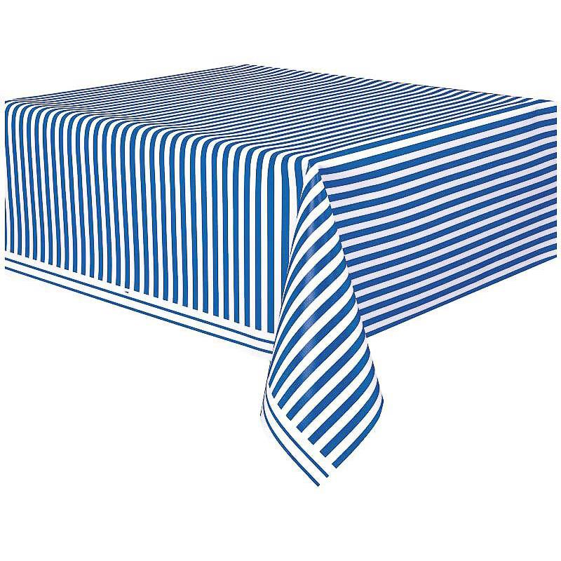 Mantel rayas blanco y azul 274 x 137 cm plástico, Pack 1 u.
