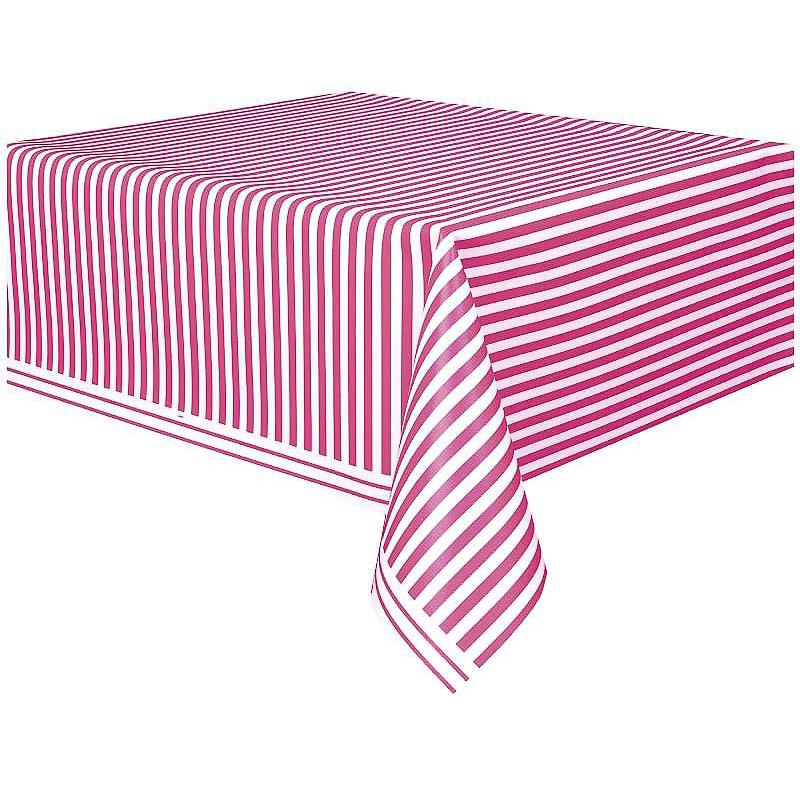 Mantel rayas blanco y rosa 274 x 137 cm plástico, Pack 1 u.