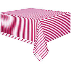 Mantel rayas blanco y rosa 274 x 137 cm plástico, Pack 1 u. - Ítem