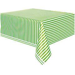 Mantel rayas blanco y verde 274 x 137 cm plástico, Pack 1 u.