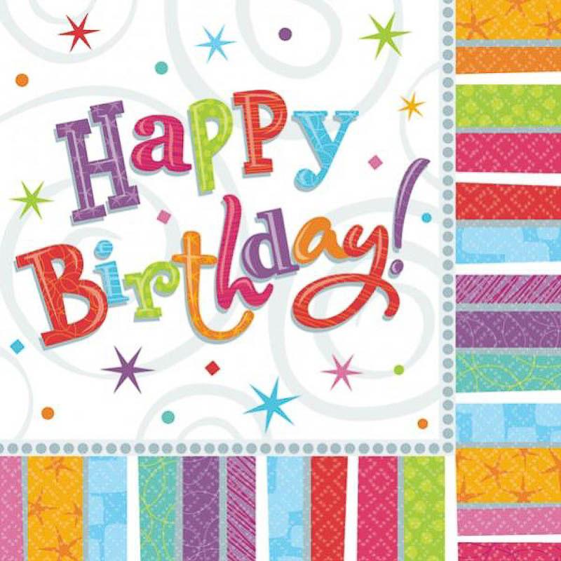 Servilletas Happy Birthday 25 x 25 cm., Pack 16 u.