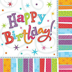 Servilletas Happy Birthday 33 x 33 cm, Pack 16 u.