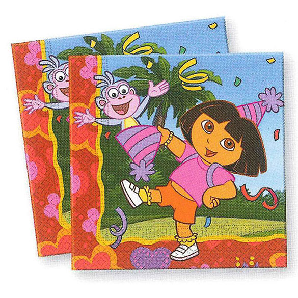 Servilletas Dora La Exploradora 33 x 33 cm, Pack 20 u.