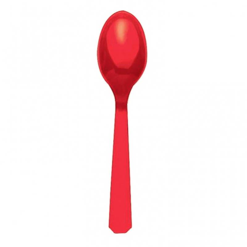 Cucharas de postre de plástico Roja, Pack 10 u.