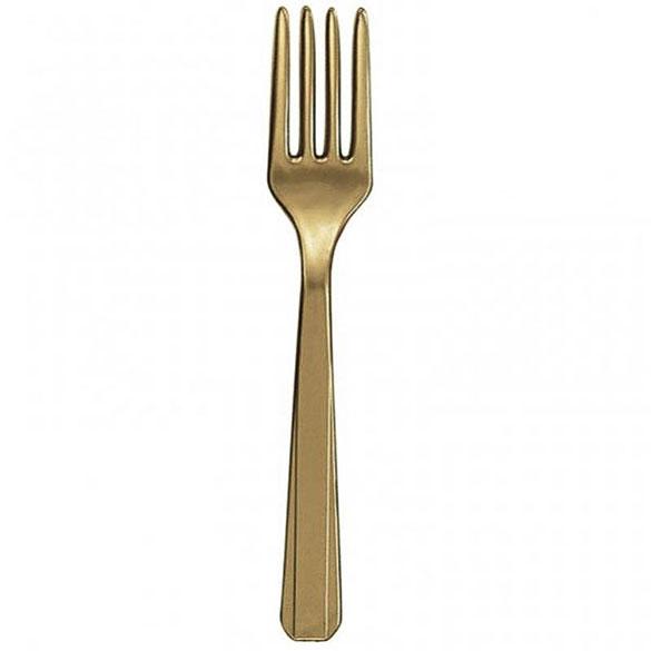 Tenedores de plástico Dorado, Pack 10 u.