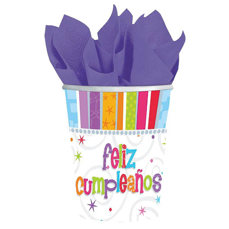 Vasos Feliz Cumpleaños 266 ml, Pack 8 u.