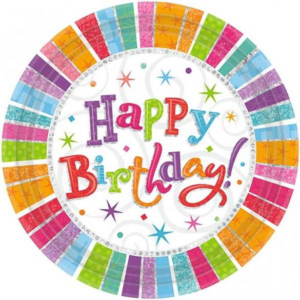 Platos Happy Birthday 22,90 cm, Pack 8 u.